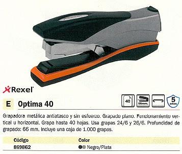 REXEL GRAPADORA OPTIMA 40 40 HOJAS NEGRO-PLATA GRAPADO PLANO 2102357
