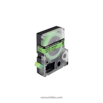 EPSON CINTA ROTULADORA NO LAMINADA LC 4GBF9 VERDE FOSFORESCENTE NEGRO 12 MM
