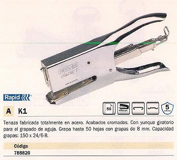 RAPID GRAPADORA DE TENAZAS K1 50 HOJAS CROMADA 10510601