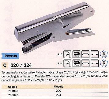 PETRUS GRAPADORA DE TENAZAS 224 25 HOJAS CROMADA 100 GRAPAS 44734