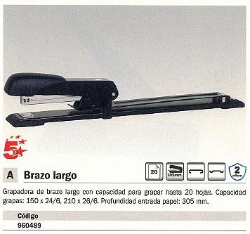 5 STAR GRAPADORAS DE BRAZO LARGO 40 HOJAS NEGRA 960489