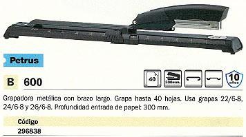 PETRUS GRAPADORAS DE BRAZO LARGO 600 40 HOJAS NEGRA 62381
