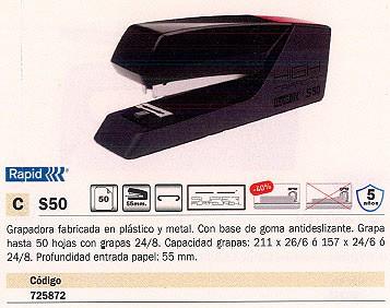 RAPID GRAPADORA DE GRUESO S50 50 HOJAS NEGRO 24148401