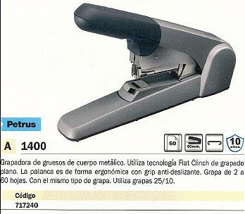 PETRUS GRAPADORA DE GRUESO MOD. 1400 60 HOJAS GRIS 623382