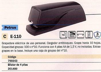 PETRUS GRAPADORA ELECTRICA E-110 10 HOJAS ADAPTADOR RED 623384
