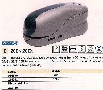 RAPID GRAPADORA ELECTRICA 20 EX FIXATIV 20 HOJAS ADAPTADOR RED 23301801