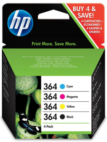 VALUE PACK NEGRO - CIAN - MAGENTA - AMARILLO 364 +10 PAGINAS 13X18CM ADV PAPEL FOTO + 5 SOBRES HP Nº 364