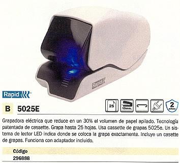 RAPID GRAPADORA ELECTRICA 5025E 25 HOJAS ADAPTADOR INCLUIDO 25095200
