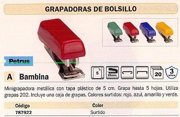MINI GRAPADORA BAMBINA 5 HOJAS COLORES SURTIDOS 44700