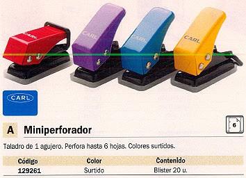 CARL MINIPERFORADOR 6 HOJAS COLORES SURTIDOS 20 UD N12