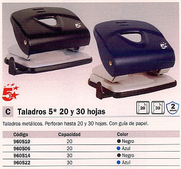 5 STAR TALADROS 20 HOJAS NEGRO 2 TALADROS 960506