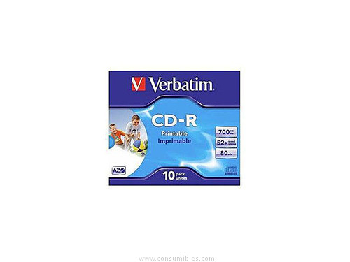 VERBATIM CD-R SUPER AZO BOBINA 10 UD 700 MB 52X 80 MIN IMPRIMIBLE 43325