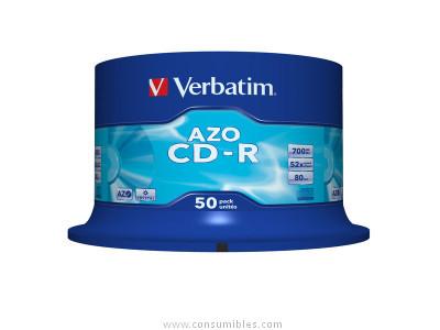 CD-R AZO Crystal bobina pack 50 unidades 52x 700 Mb 80 min 43343