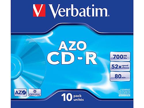 VERBATIM CD-R AZO CRYSTAL PACK 10 UD 700 MB 52X 80 MIN 43327