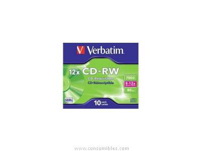 VERBATIM CD-RW DATALIFE CAJA 10 UD 700 MB 8X 12X 43148