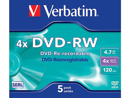 VERBATIM DVD RW MATT SILVER PACK 5 UD 4.7GB 4X 120MIN 43285