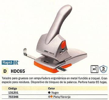 RAPID TALADRO GRUESOS HDC65 65 HOJAS NEGRO 2 TALADROS 20922602