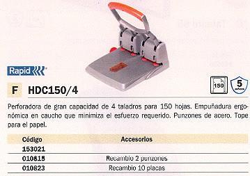 RAPID TALADROS DE 4 AGUJEROS HDC150-4 150 HOJAS NARANJA-GRIS TOPE PAPEL 23223100