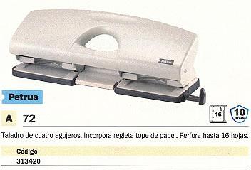 PETRUS TALADROS DE 4 AGUJEROS 72 16 HOJAS GRIS TOPE PAPEL 623359
