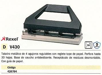 REXEL TALADROS DE 4 AGUJEROS V430 30 HOJAS TOPE PAPEL 08909