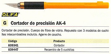 ENVASE DE 6 UNIDADES OLFA ESCALPELOS AK-4 PRECISIÓN AGARRE CAUCHO CON 3 MODELOS DE CUCHILLAS AK-4