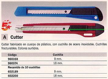 5 STAR CUTTERS 9 MM CUCHILLAS FRACTURABLES COLORES SURTIDOS E 84000 SP