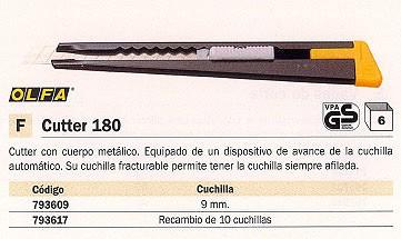 OLFA CUTTERS 180 9 MM SISTEMA AVANCE CUCHILLA AUTOMATICO 180