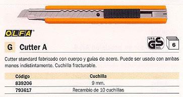 OLFA CUCHILLAS CUTTERS 1809 MM 10 UD ASB-10