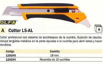 ENVASE DE 6 UNIDADES OLFA ESTUCHE CUCHILLAS PARA GUILLOTINA L5 AL 10 UD 18 MM LB 10
