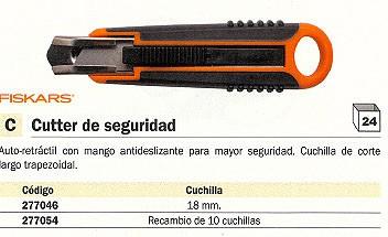 ENVASE DE 24 UNIDADES FISKARS CUTTERS 18 MM AUTO-RETRÁCTIL 080320