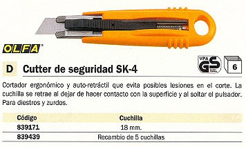 ENVASE DE 6 UNIDADES OLFA CUTTERS SK 4 18 MM AUTO RETRÁCTIL ZURDOS/DIESTROS SK 4