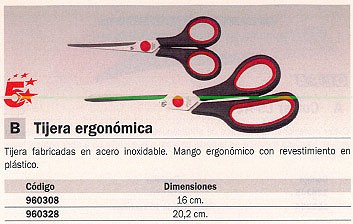 5 ESTRELLAS TIJERAS ERGONOMICA 16 CM ACERO INOXIDABLE MANGO ERGONOMICO E-30250 SP