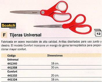 ENVASE DE 12 UNIDADES SCOTCH TIJERAS COMFORT 18 CM ROJO ACERO INOXIDABLE FT600004046