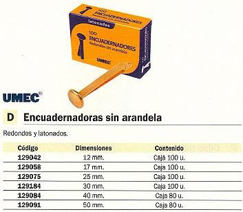 UMEC ENCUADERNADOR SIN ARANDELA CAJA 50 UD 50 MM REDONDO Y LATONADO 302301