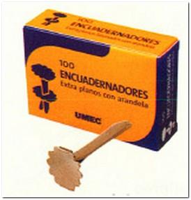 UMEC ENCUADERNADORES CON ARANDELA CAJA 100 UD 21 MM EXTRAPLANOS Y LATONADOS U301001