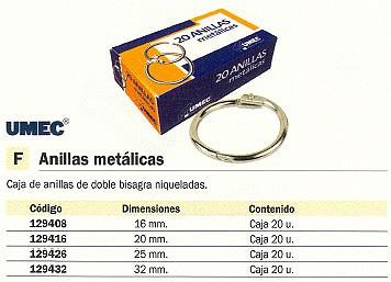 UMEC ANILLAS METÁLICAS CAJA 20 UD 25 MM PLATA 452