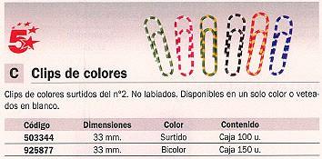 5 ESTRELLAS CLIPS Nº 2 CAJA 100 UD 33 MM COLORES SURTIDOS 503344