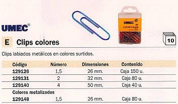 UMEC CLIPS LABIADOS N.1,5 CAJA 150 UD 26 MM COLORES SURTIDOS 040A