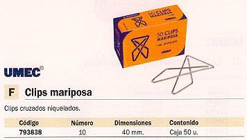 UMEC CLIPS MARIPOSA Nº10 CAJA 50 UD 40 MM PLATEADO MU201200