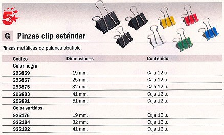 5 STAR PINZAS CLIP CAJA 12 UD 41 MM COLORES SURTIDOS 925192