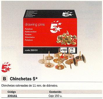 5 ESTRELLAS CHINCHETAS COBREADAS CAJA 150 UD 11 MM 330151