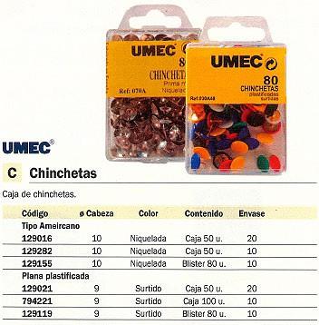 ENVASE DE 10 UNIDADES UMEC CHINCHETAS PLASTIFICADAS CAJA 80 UD 9 MM 030 A48