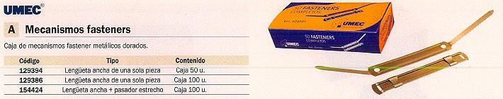 UNIPAPEL FASTENERS METÁLICO CAJA 100 UD DORADO B0168