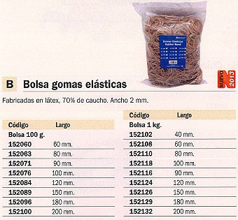 MARCA BLANCA GOMAS ELASTICAS BOLSA 100GR 10 CM ANCHO 2 MM 320509