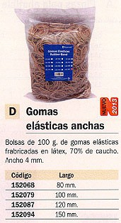 MARCA BLANCA GOMAS ELASTICAS BOLSA 100GR 12 CM ANCHO 2 MM LÁTEX Y CAUCHO 320512