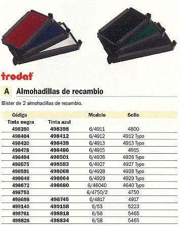 TRODAT ALMOHADILLA RECAMBIO 6/4927 2 UD AZUL 4927/6 A CL