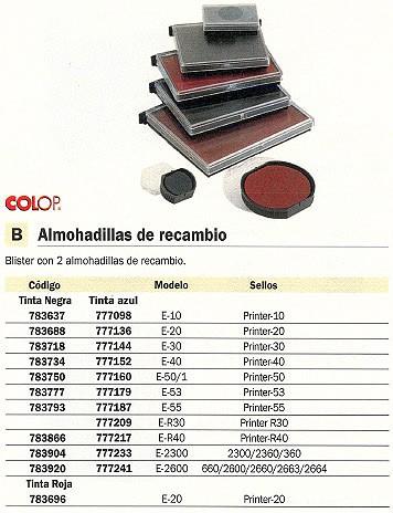 COLOP ALMOHADILLA RECAMBIO E-40 2UD AZUL ALCB.40.N