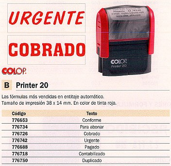 COLOP SELLOS PRINTER 20 38X14MM NEGRO CONFORME SFC20.PR20C.02