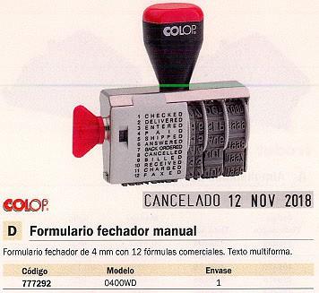 Fechadores manuales COLOP FORMULARIO 0400WD 4MM FEC.FF.1