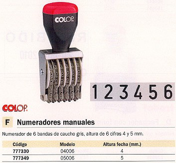 COLOP SELLOS 4 /5 MM 6 LINEAS NUMC.0506.1